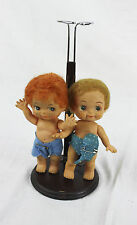 Lot of 2 Small Plastic Or Rubber Baby Dolls Made In Japan Red And Blonde Hair +