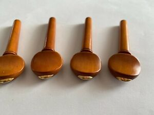 BOXWOOD VIOLIN PEGS WITH BRASS INLAY, 4 PIECES, SWISS STYLE, 4/4 SIZE, FROM UK!