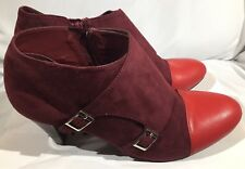 NIB Women's Ashro Eleonora Bootie Burgundy & Red Ankle Heeled Boot Size 10 M