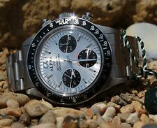 Alpha Mechanical chronograph SG2903 Watch Silver Dial And Glass Display Back