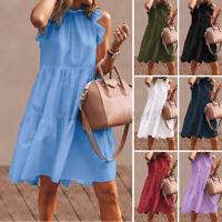 Womens Short Sleeve CaVest Dress Summer Sundress Loose Pleated Dresses Long Tops