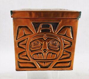 Vintage Haida Northwest Coast Indian Handmade Copper Clad Box Canadian Document