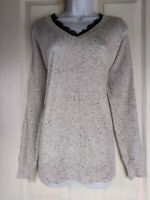 Womens Jumper size large grey black lace trim comfy casual stretch winter vgc