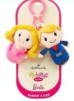 "Fun HALLMARK ""ITTY BITTY'S CLIPPYS  BARBIE KEN Small Plush Keychain New"