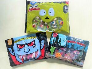 Set Of 3 Halloween Gummy body parts , Eyeballs , Fangs Candy Sweet Trick Or Trea