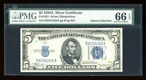 DBR 1934-A $5 Silver Mule Gem Fr. 1651m FA Block PMG 66 EPQ Serial F85761020A