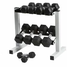 Black Rubber Weight Lifting 10 Dumbbell Gym Set Rack Lot 5-25 lb pairs 150 lbs