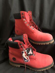 Timberland NBA Chicago Bulls RED 6-Inch Premium Waterproof Men's Boots Sz 10.5 M
