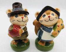 Thanksgiving Pilgrim Squirrel Ceramic Hand Painted Salt and Pepper Shakers