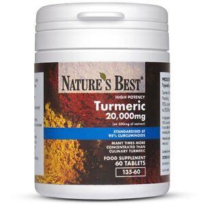 Turmeric 20,000mg - High Strength 95% Curcumins - 60 Vegan Tablets - UK Made
