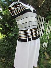 Vintage 70s Haypence dress white gray black stripes cropped sleeves Euc poly