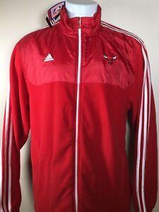 NEW Adidas Chicago Bulls NBA 3 Stripe Fleece Mixed Jacket Red White Mens XL NWT