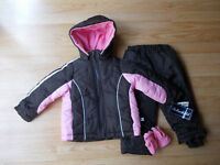 Rothschild Girls Snow Suit Ski Jacket & Pants Oat Cocoa Brown Pink sz 3T NWT