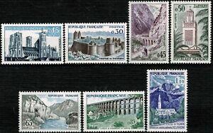 FRANCE 1960 SÉRIE TOURISTIQUE YT n° 1235 à 1241 Neufs ★★ luxe / MNH