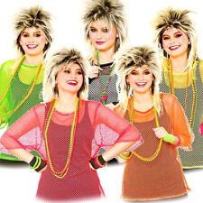 Ladies 80s Mesh Top T-shirt Eighties Halloween Fancy Dress up Party Accessory Neon Pink Plus Size