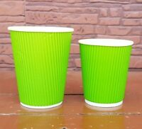 8/12oz Green Disposable Coffee Cups Green Paper Cups Coffee Cups + Free Lids UK