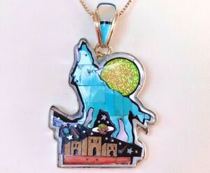 Turquoise Howling Wolf BIG OPAL Moon indigenous Pride Retro Pendant Sterling 925
