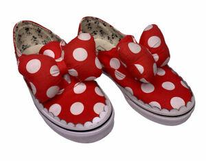 Vans Disney Authentic Gore Minnie Mouse Bow Slip-On Shoes Kids Size 1