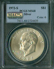 1972-S EISENHOWER SILVER DOLLAR PCGS MAC MS-68 PQ 2ND FINEST 4433 SPOTLESS.
