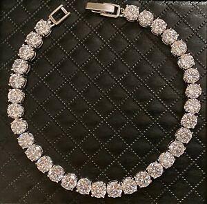 "16 cwt Simulate Diamond 5mm Prong Round Tennis Bracelet 18k White Gold Over 7.5"""