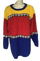 Vintage Jacque & Koko Together Womens Size 14 16 L Knit Sweater Blue Red Yellow
