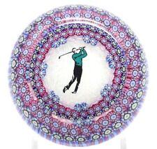 Beautiful PERTHSHIRE Millefiori Canes GOLFER Art Glass PAPERWEIGHT Golf Sport