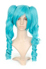 Aqua Blue Anime Cosplay Costume Wig w/ Curly Pigtails
