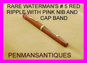 CIRCA 1928 RARE WATERMAN'S # 5 RED RIPPLE FOUNTAIN PEN WITH PINK BAND AND NIB