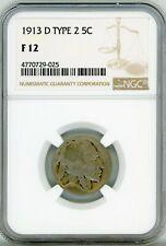 1913-D Buffalo Nickel 5C Type 2 Fine Condition NGC F-12