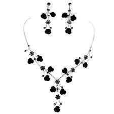 Black Rose Flower Crystal Rhinestone Necklace & Earring  set for Wedding Bridal