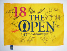 Open Championship 2018 Carnoustie pin flag signed by 18 Open Champions. COA.