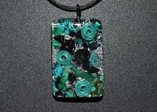 EMF Protection -Black & Turquoise Orgone Pendant- Turquoise, Malachite,