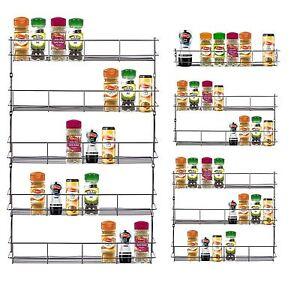 1/3/4/5 Tier Chrome Spice Herb Rack Holder Kitchen Jar Organiser Wall Storage
