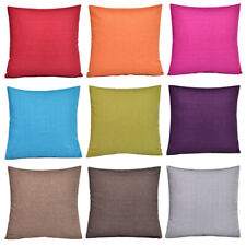 Cushion Cover Linen Cotton Pillowcase Plain Color Office Home Car Decoration