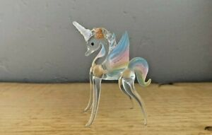 Rainbow Sparkly Unicorn Pegasus Alicorn Blown Glass Figurine Mint Condition