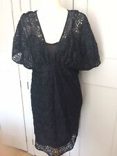 Zara Collection size L/14 Vintage Lace Dress Black Summer Angel Sleeves