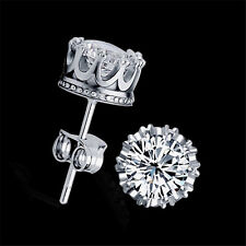 Fashion Sliver Plated Jewelry 8mm Round Cubic Zirconia Silver Stud Earring