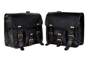 Schwarz Motorcycle  Side Pouch  Leather Side Pouch Saddlebags Saddle 2Panniers