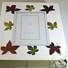 NEW Sonoma Life Style Chrome Glass 3 1/2 x 5 Photo Frame Leaves