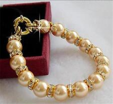"""10mm round Gold south sea shell pearl beads crystal bracelet 7.5"""""""
