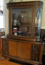 ANTIQUE GERMAN CARVED CREDENZA SIDEBOARD CHINA CABINET CUPBOARD Furniture