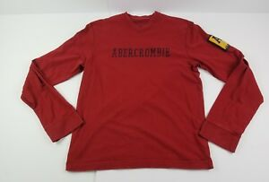Abercrombie & Fitch Red Mens Teen Boy Long Sleeve V  Neck Shirt Size Small T1