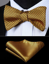 Gold Check&Plaid Men Self Bow Ties Classic Silk Bowtie Pocket Square Set#BC614DS