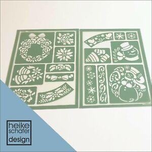 Satinier Flex Schablonen Set X-Mas 2xA5 -Neu-  Heike Schäfer Design