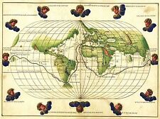 MAP WORLD GLOBE ANTIQUE CIRCUMNAVIGATION ART POSTER PRINT LV2147