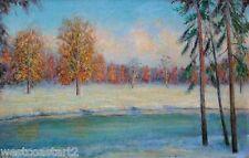 H MAAT Winter Landscape Vintage Oil Painting