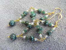 EARRINGS gold 925 sterling silver SERAPHINITE PEARL EMERALD gemstone chandelier