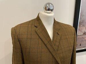 "Mens Tweed Sports Blazer Brown Windowpane Macintosh 42"" X 30 Casual"