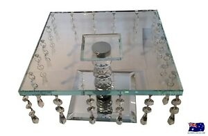 WEDDING ENGAGEMENT 25CM SQUARE CRYSTAL CAKE PLATE STAND HANGING CRYSTALS HW-67