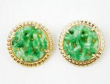 Napier Vintage Round Earrings with Green Floral Center